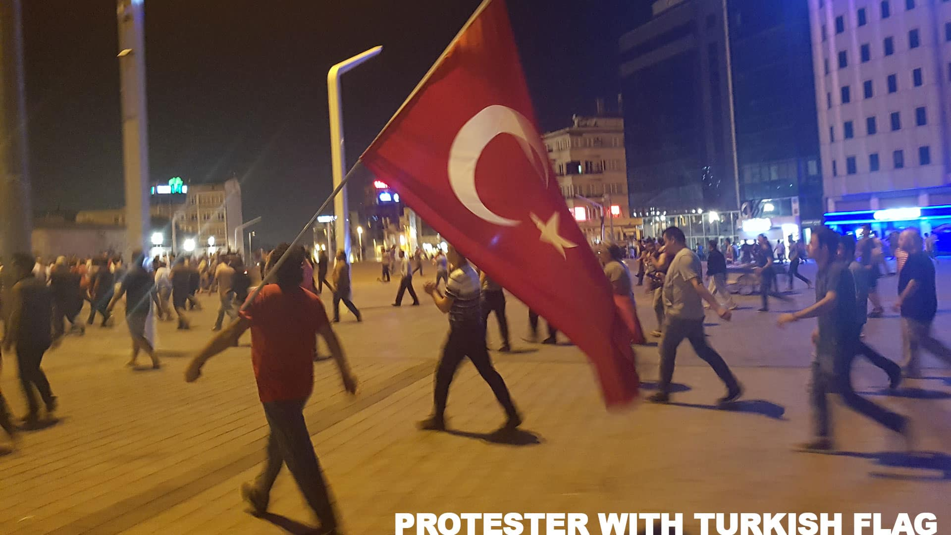 Carrying the Turkish Flag