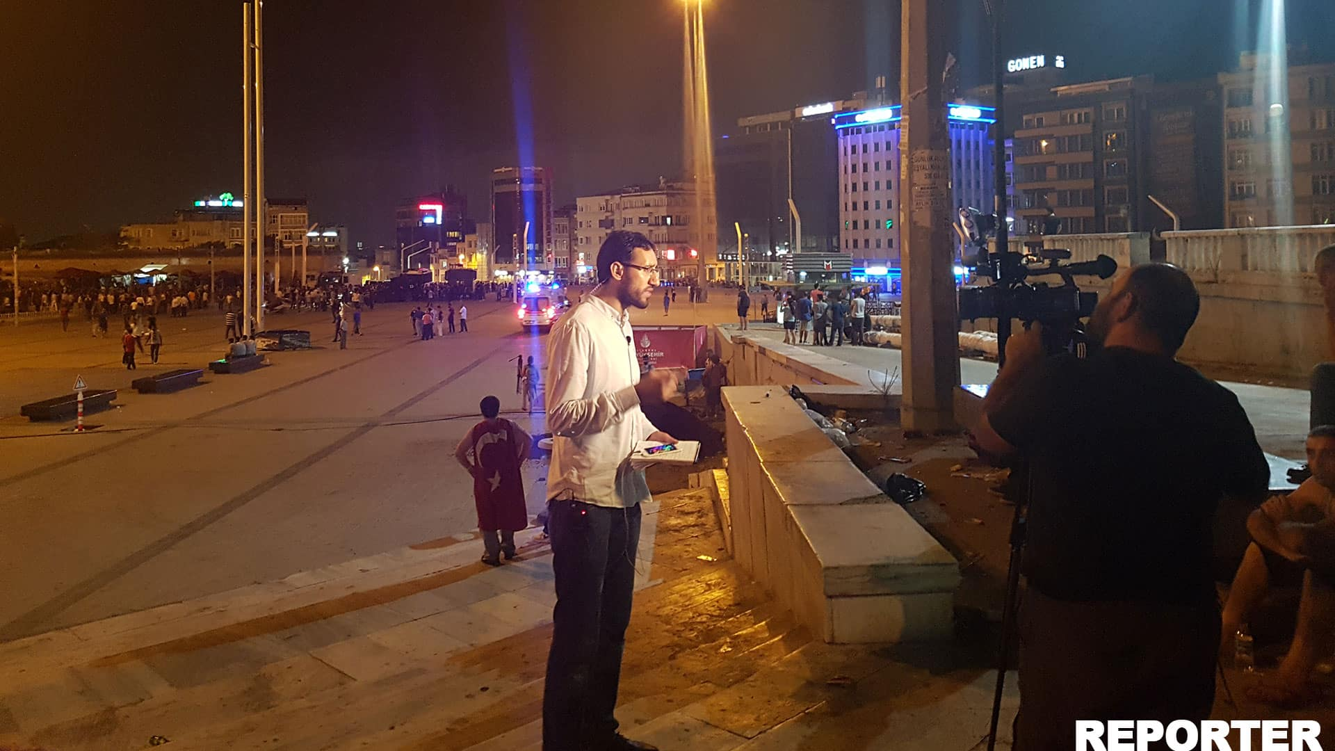 Reporter at Taksim Square